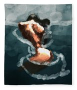 Woman In The Water  Fleece Blanket
