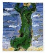Woman In The Wind By The Sea 1907 Fleece Blanket