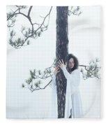 Woman In White Dress Hugging A Tree Fleece Blanket