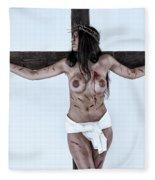 Woman Jesus On Cross I Fleece Blanket