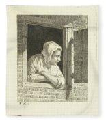 Woman Leaning On Arms In Window Opening Fleece Blanket