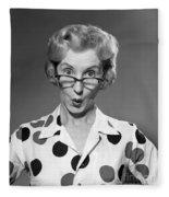 Woman Looking Over Her Glasses Fleece Blanket