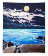 Woman On A Cliff And The Beautiful See Fleece Blanket
