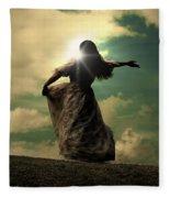 Woman On A Meadow Fleece Blanket