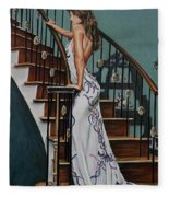 Woman On A Staircase 3 Fleece Blanket