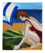 Woman On The Beach Fleece Blanket