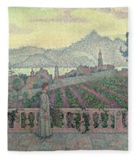 Woman On The Terrace Fleece Blanket