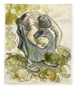 Woman Picking Cabbage Fleece Blanket