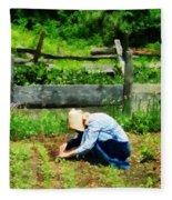 Woman Planting Garden Fleece Blanket