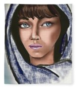Woman Portrait Fleece Blanket