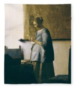 Woman Reading A Letter Fleece Blanket
