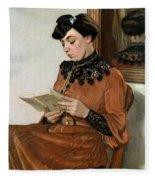 Woman Reading Fleece Blanket