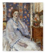 Woman Seated In An Armchair Fleece Blanket