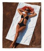 Woman Sunbathing Fleece Blanket