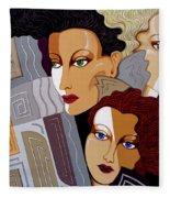 Woman Times Three Fleece Blanket