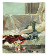 Woman Undressed Fleece Blanket