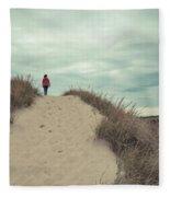 Woman Walking In The Dunes Of Cape Cod Fleece Blanket