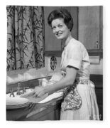 Woman Washing Dishes, C.1960s Fleece Blanket