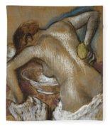 Woman Washing Her Back With A Sponge Fleece Blanket