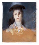 Woman Wearing A Hat With Silk Gauze Fleece Blanket