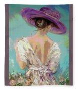 Woman Wearing A Purple Hat Fleece Blanket