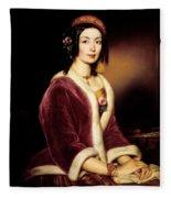 Woman Wearing A Velvet Pelisse  Fleece Blanket