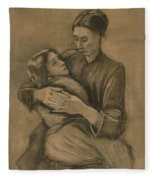 Woman With A Child On Her Lap The Hague, March 1883 Vincent Van Gogh 1853 - 1890 Fleece Blanket