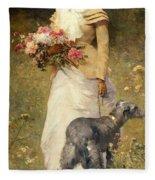 Woman With A Dog Fleece Blanket