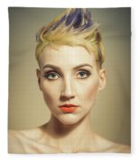 Woman With A Funky Hairstyle Fleece Blanket