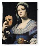 Woman With A Mask Fleece Blanket