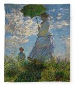 Woman With A Parasol, Madame Monet And Her Son, Claude Monet Digitally Enhanced Fleece Blanket