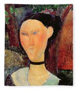 Woman With A Velvet Neckband Fleece Blanket