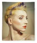 Woman With An Edgy Hairstyle Fleece Blanket