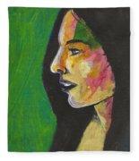 Woman With Black Lipstick Fleece Blanket