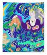 Woman With Fish Fleece Blanket