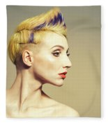 Woman With Funky Hairstyle Fleece Blanket