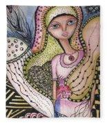 Woman With Large Eyes Fleece Blanket