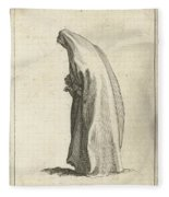 Woman With Long Veil Fleece Blanket