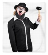 Woman With Male Costume Holding Mallet Fleece Blanket
