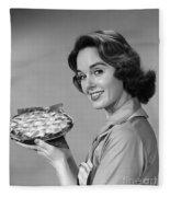 Woman With Pie, C.1950-60s Fleece Blanket
