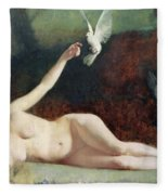 Woman With Pigeons Fleece Blanket