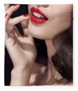 Woman With Red Lipstick Closeup Of Sensual Mouth Fleece Blanket