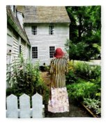 Woman With Striped Jacket And Flowered Skirt Fleece Blanket