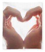 Woman's Hands Make A Heart Shape On White Background, Backlight. Love Fleece Blanket