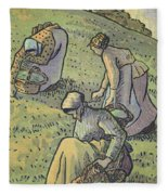 Women Gathering Mushrooms Fleece Blanket