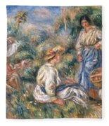 Women In A Landscape Fleece Blanket