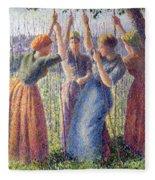 Women Planting Peasticks Fleece Blanket