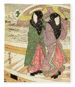 Women Walking Over A Bridge In Snow Fleece Blanket