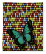 Wonderful Green Butterfly Fleece Blanket