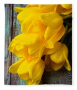 Wonderful Yellow Tulips With Dew Fleece Blanket